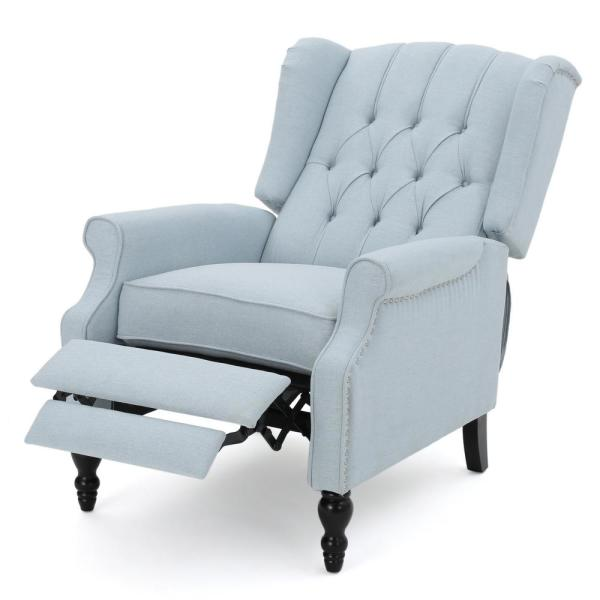 Noble House Walter Light Sky Fabric Recliner