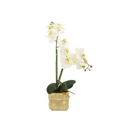 Faux Orchid White Flower Pot