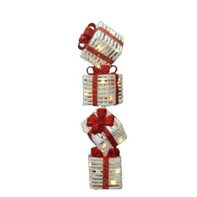 Pre-Lit 33 in. Sisal Gift Box Tower