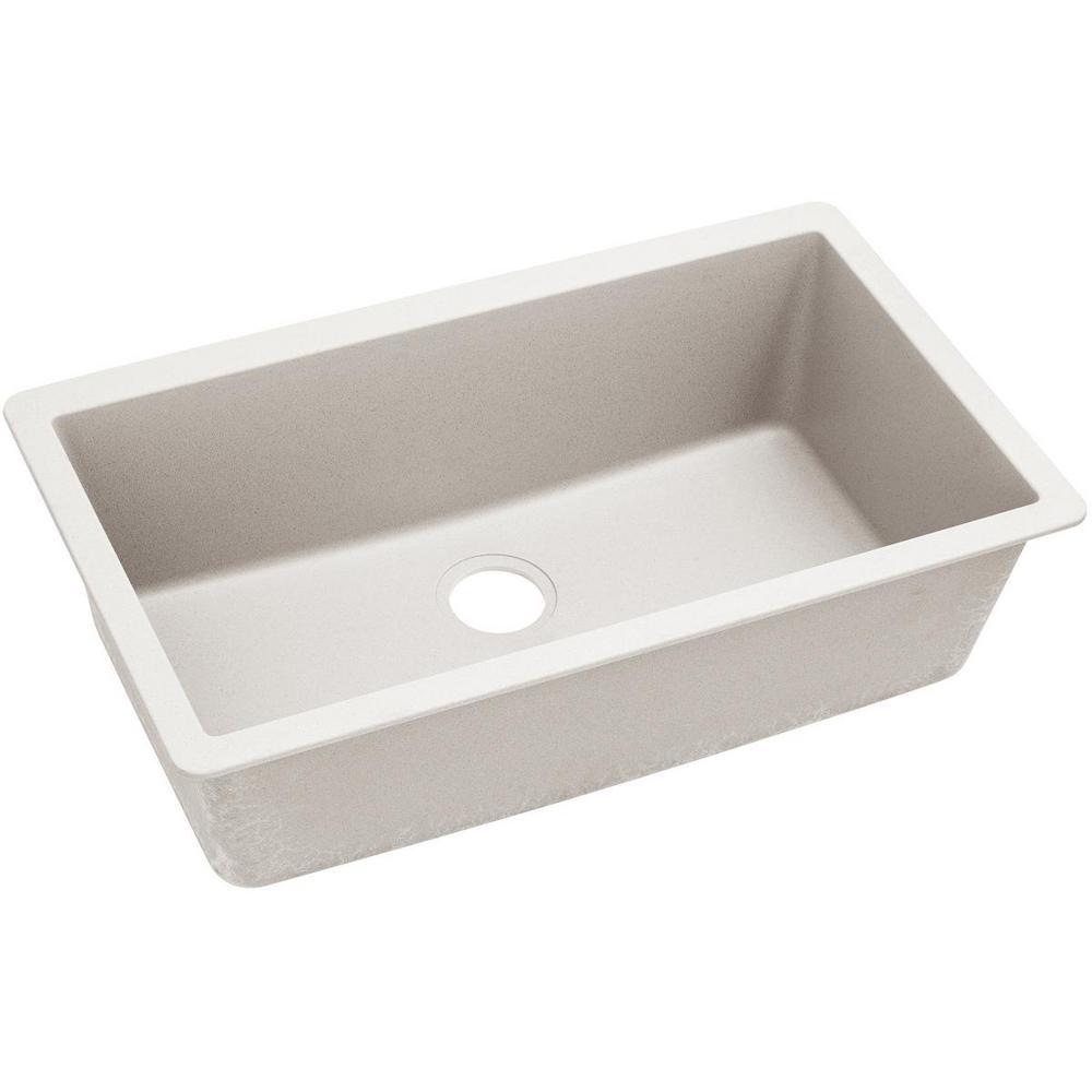 Quartz Luxe Undermount Composite 33 in. Single Bowl Kitchen Sink in Ricotta