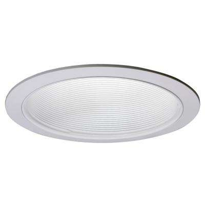 E26 Series 6 in. White Recessed Ceiling Light Baffle with White Trim Ring