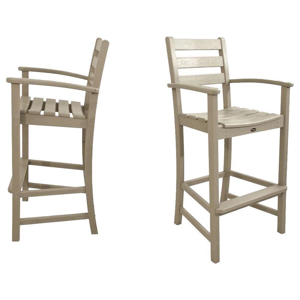 Monterey Bay Sand Castle 2 Piece Patio Bar Chair Set