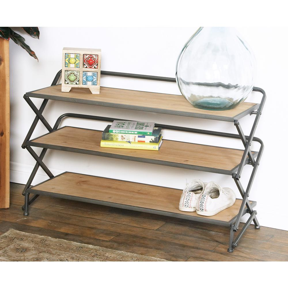 Light Brown Accordion-Framed Rectangular 3-Tier Shelf