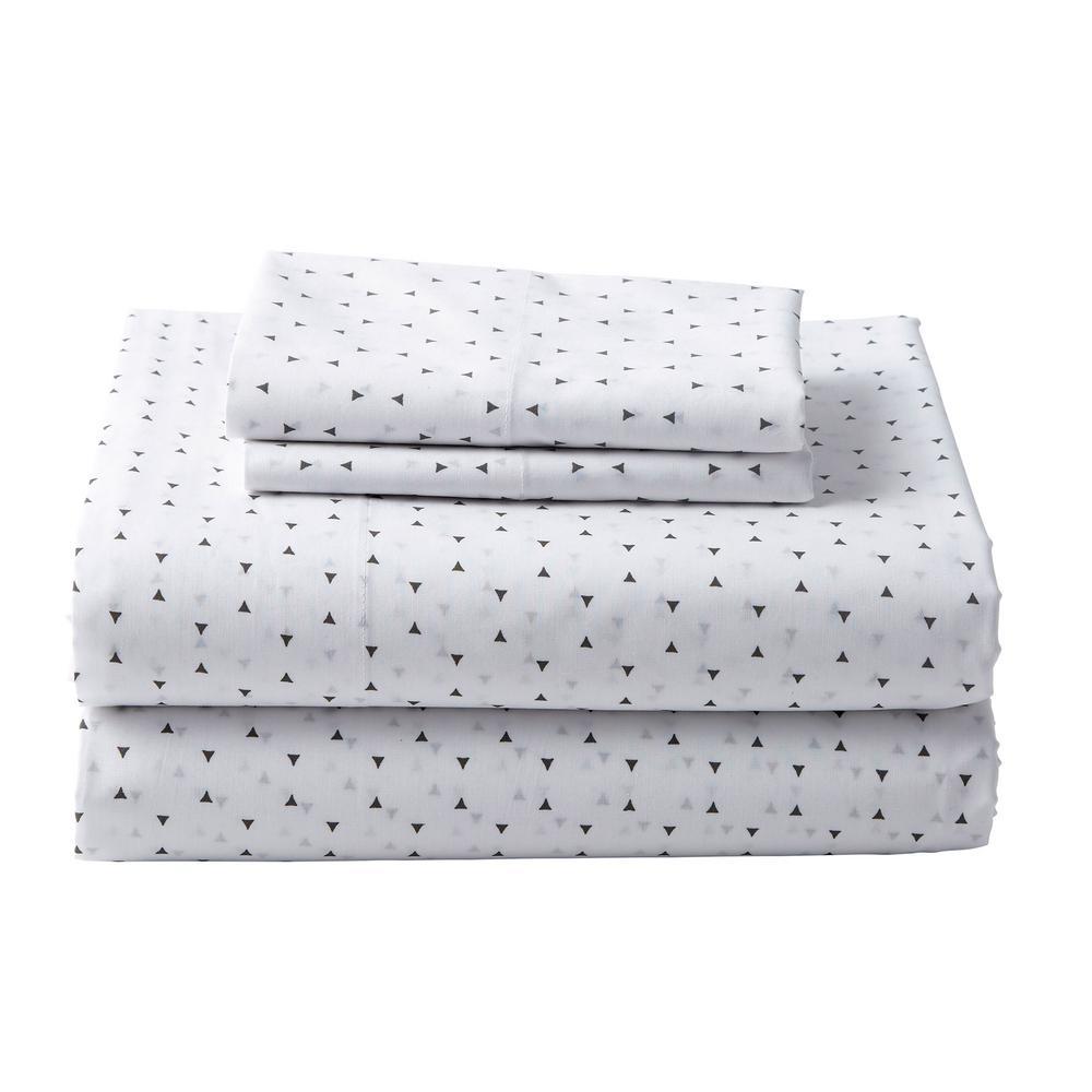 The Company Store Spotlight White/Gray Cotton Percale King Pillowcase (Set of