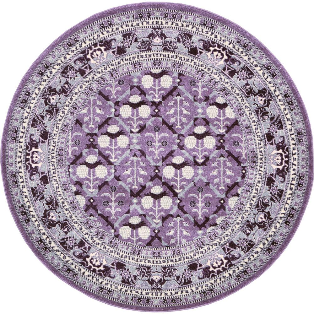 Purple Circle Rugs: Unique Loom La Jolla Purple 6 Ft. X 6 Ft. Round Area Rug