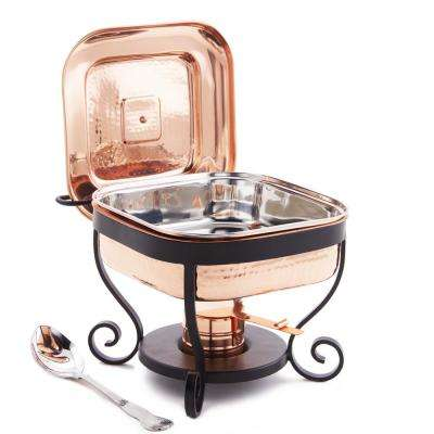 11 in. x 10 in. x 9 in. Hammered Copper Chafing Dish and 3 Qt. Stainless Steel Spoon