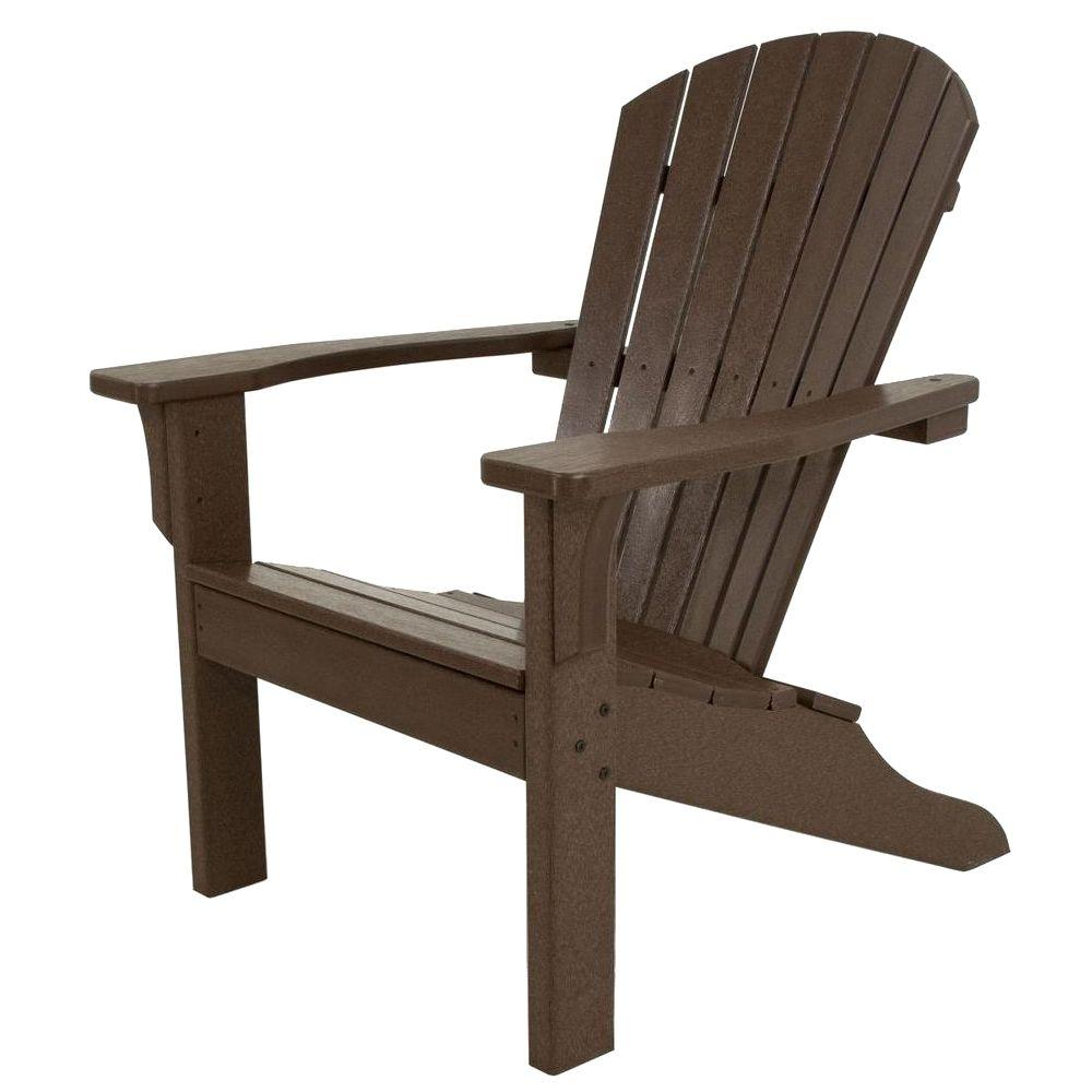 Ivy Terrace Classics Mahogany Shell Back Plastic Patio Adirondack Chair