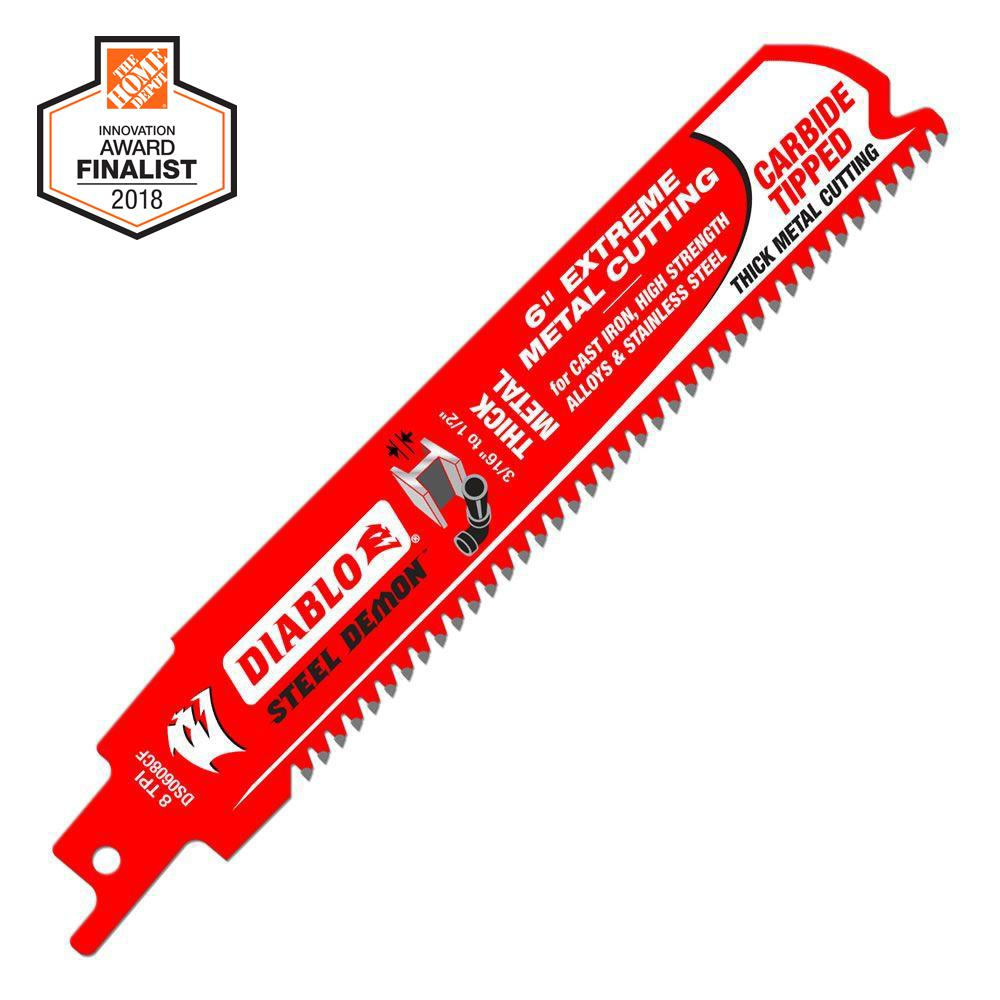 Diablo 6 in. 8 TPI Steel Demon Carbide-Tipped Thick Metal Cutting Reciprocating Saw Blade