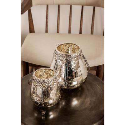 Silver Teardrop-Shaped Glass Candle Holders with Iron Handle (Set of 3)