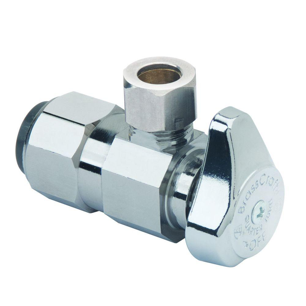 BrassCraft 1/2 in. Nominal Push Connect Inlet x 3/8 in. O.D. Compression Outlet Brass 1/4-Turn Angle Valve (5-Pack)