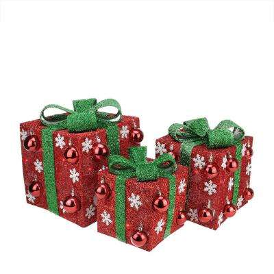 12 in. Christmas Outdoor Decorations Lighted Red Tinsel Gift Boxes with Green Bows (3-Pack)