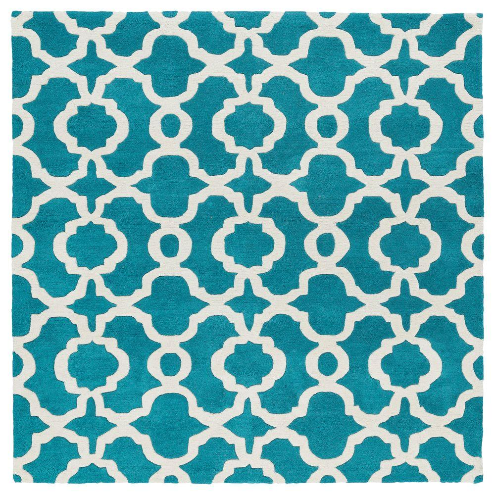 Kaleen Revolution Teal 4 Ft X 4 Ft Square Area Rug Rev03