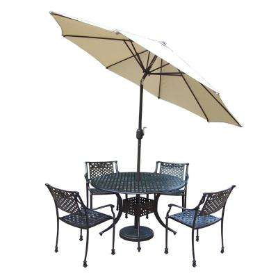 7 Piece Outdoor Dining Set With Round Table 4 Cast Aluminum Chairs Metal  Umbrella And Stand