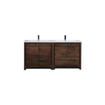 Dolce 70.5 in. W bath vanity in rosewood with reinforced acrylic vanity top in white with white basins