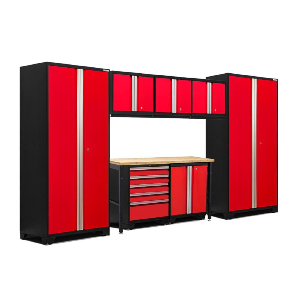 Pro 3.0 83.25 in. H x 156 in. W x 24 in. D 18-Gauge Welded Steel Bamboo Worktop Cabinet Set in Red (8-Piece)