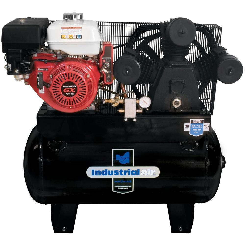Industrial air 30 gal truck mount air compressor with 9 for Air compressor gas motor