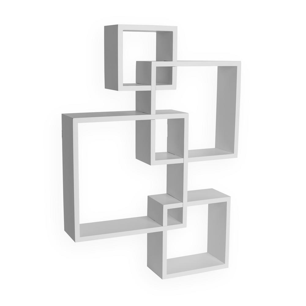 DANYA B Contempo 18 in. x 25.5 in. White MDF Intersecting Cube Shelves