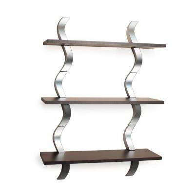 Contempo Waves 27.5 in. W x 40 in. H Walnut Grain Laminated MDF and Silver ABS Three Level Shelving System