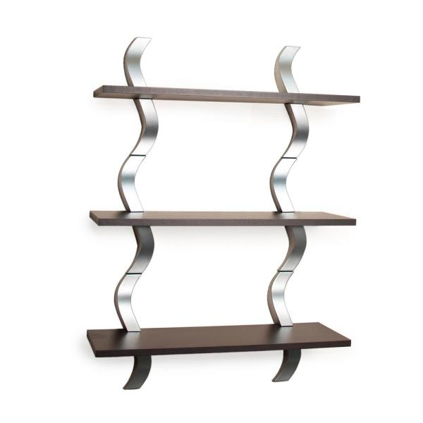 DANYA B Contempo Waves 27.5 in. W x 40 in. H Walnut Grain Laminated MDF and Silver ABS Three Level Shelving System