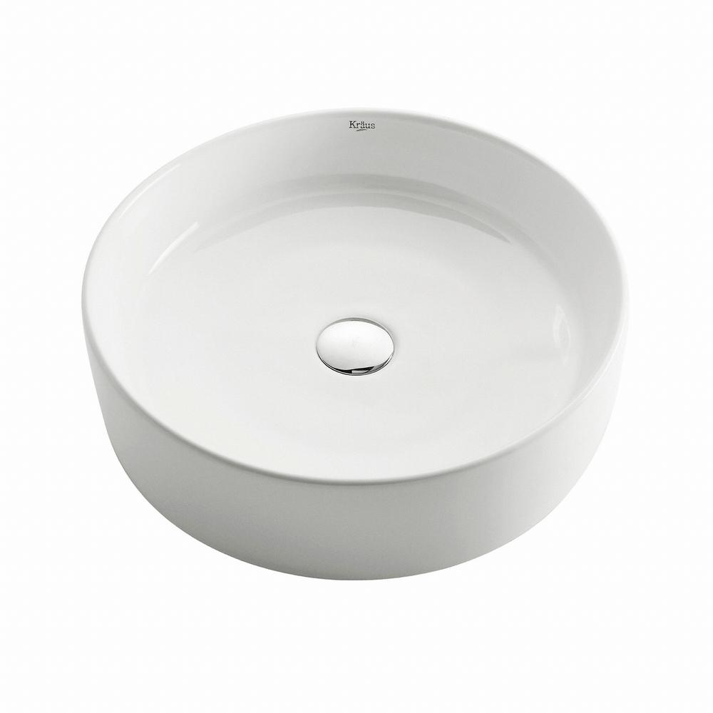 Round Ceramic Vessel Bathroom Sink in White