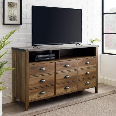 52 in. Dark Concrete Top and Rustic Oak Base Composite TV Stand Fits TVs Up to 56 in. with Storage Doors