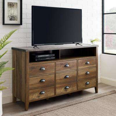 Dark Concrete Top/Rustic Oak Base Industrial Farmhouse TV Console for TV's up to 56 in.