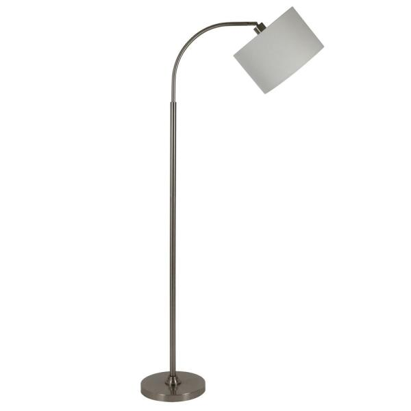 Asher 60 in. Brushed Steel Floor Lamp with Shade