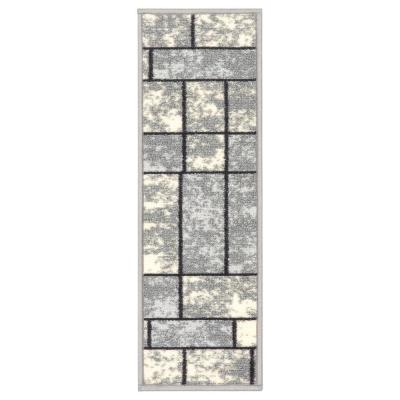 Ottohome Collection Contemporary Boxes Design Gray 8.5 in. x 26 in. Non-Slip Pet-Friendly Stair Tread (Set of 7)