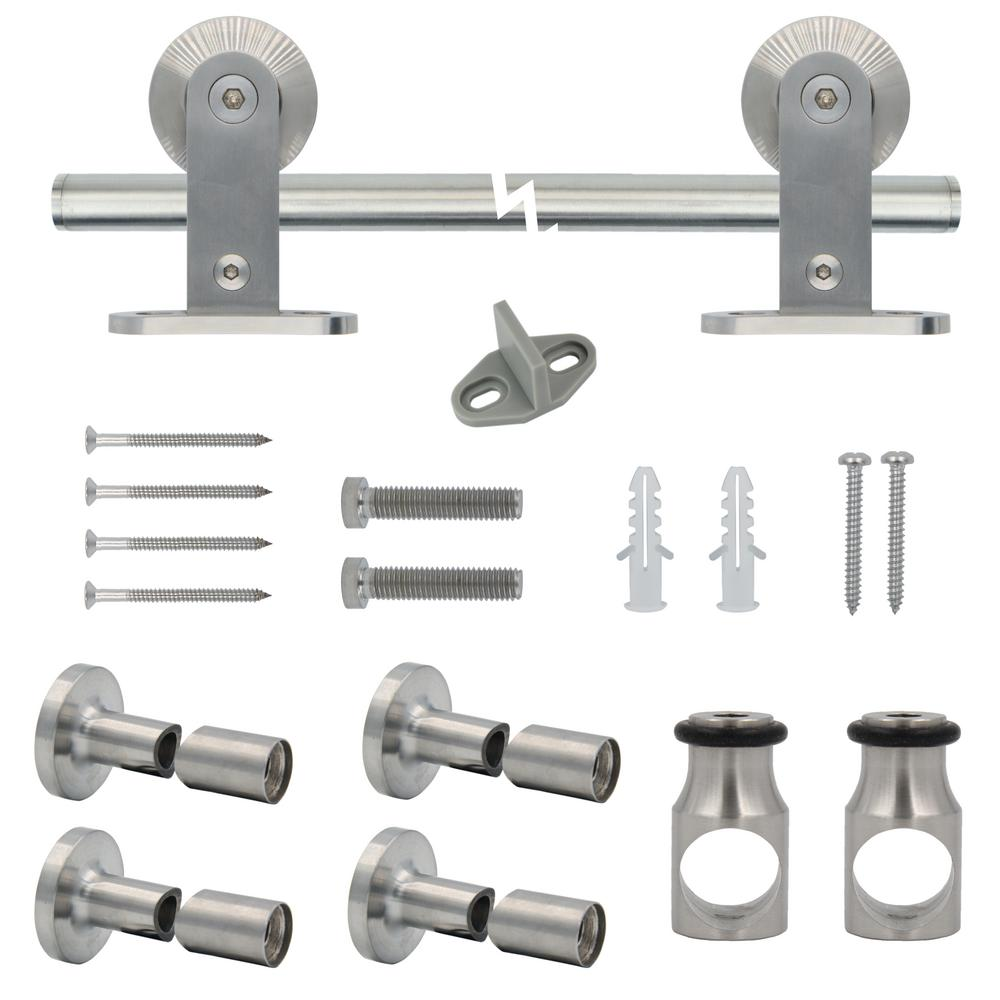 Stainless Steel Top Mount Sliding Barn Door Track And Hardware Kit