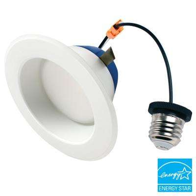4 in. 75-Watt Equivalent 2700K Soft White Integrated LED  Recessed Downlight Retrofit Trim