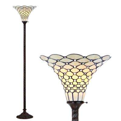 White Tiffany-Style 70 in. Bronze Torchiere Floor Lamp