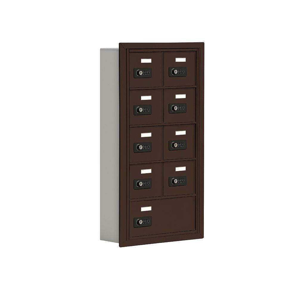 Salsbury Industries 19000 Series 17.5 in. W x 31 in. H x5.75 in. D 8 A / 1 B Doors R-Mount Resettable Locks Cell Phone Locker in Bronze