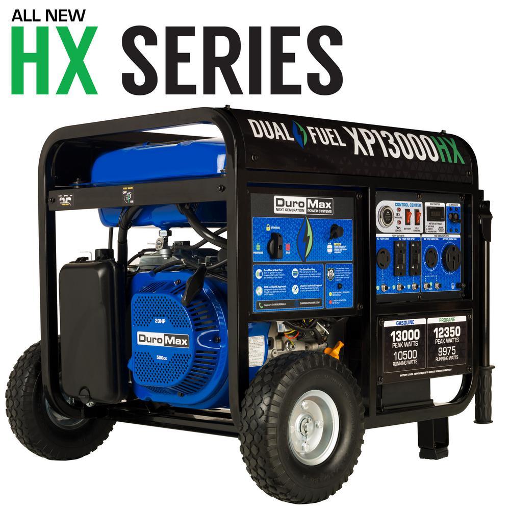 20HP Dual Fuel with CO Alert Shutdown Sensor 13000/10500-Watt Gasoline/Propane Portable Generator
