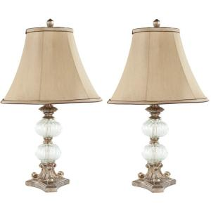 Wonderful Clear Glass Globe Table Lamp With Beige Shade (Set Of 2