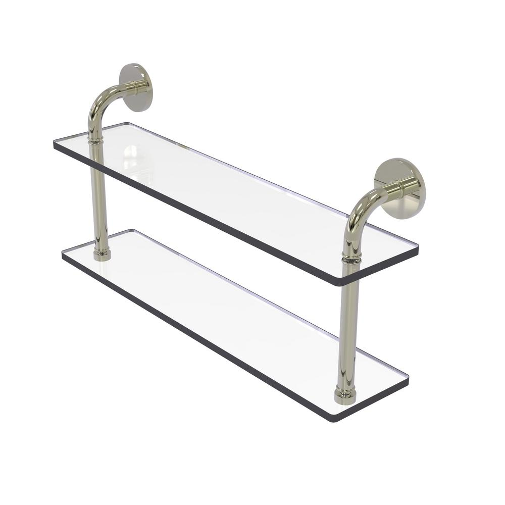Remi Collection 22 in. 2-Tiered Glass Shelf in Polished Nickel