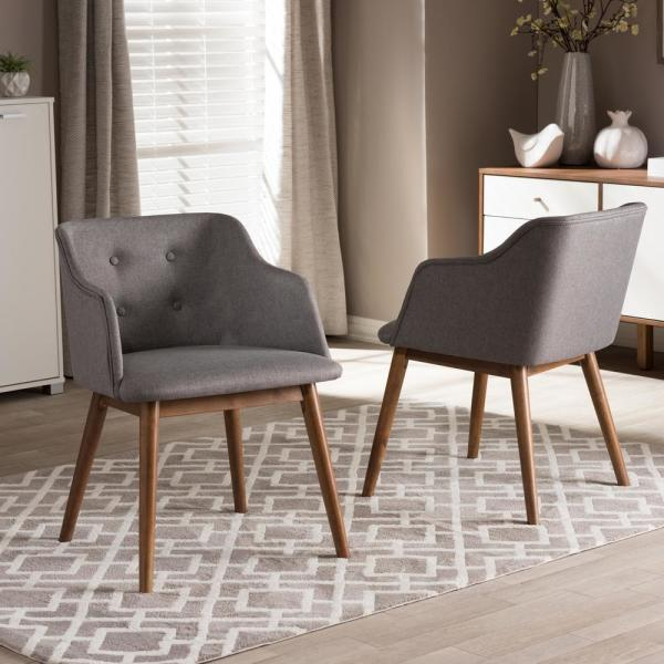 Baxton Studio Harrison Gray Fabric Upholstered Accent Chair 2PC-6960-HD