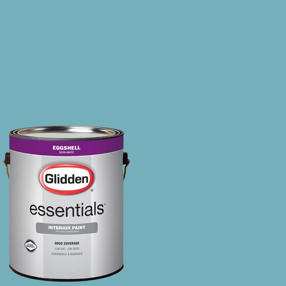 Glidden Essentials 1 Gal Hdgb34u Sailing Sea Blue Eggshell Interior Paint