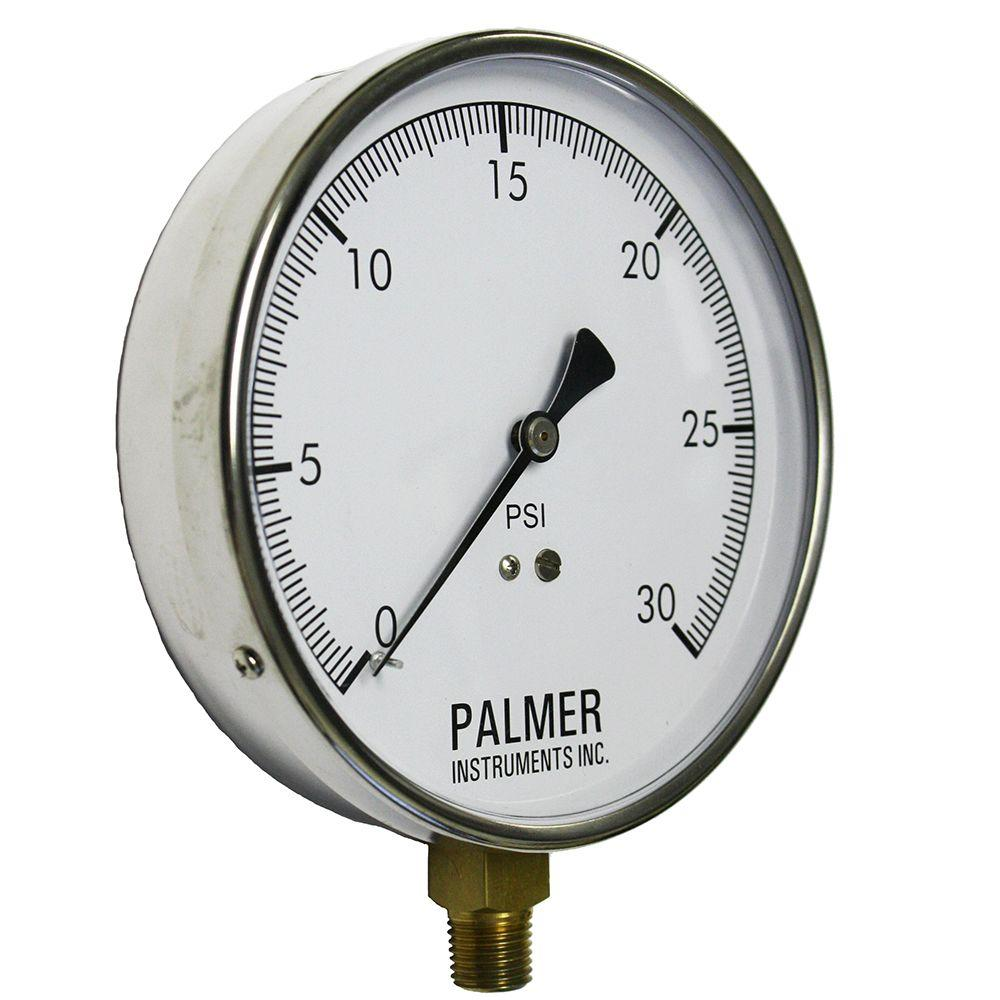 4.5 in. Dial 30 psi Stainless Steel Case Contractor Gauge