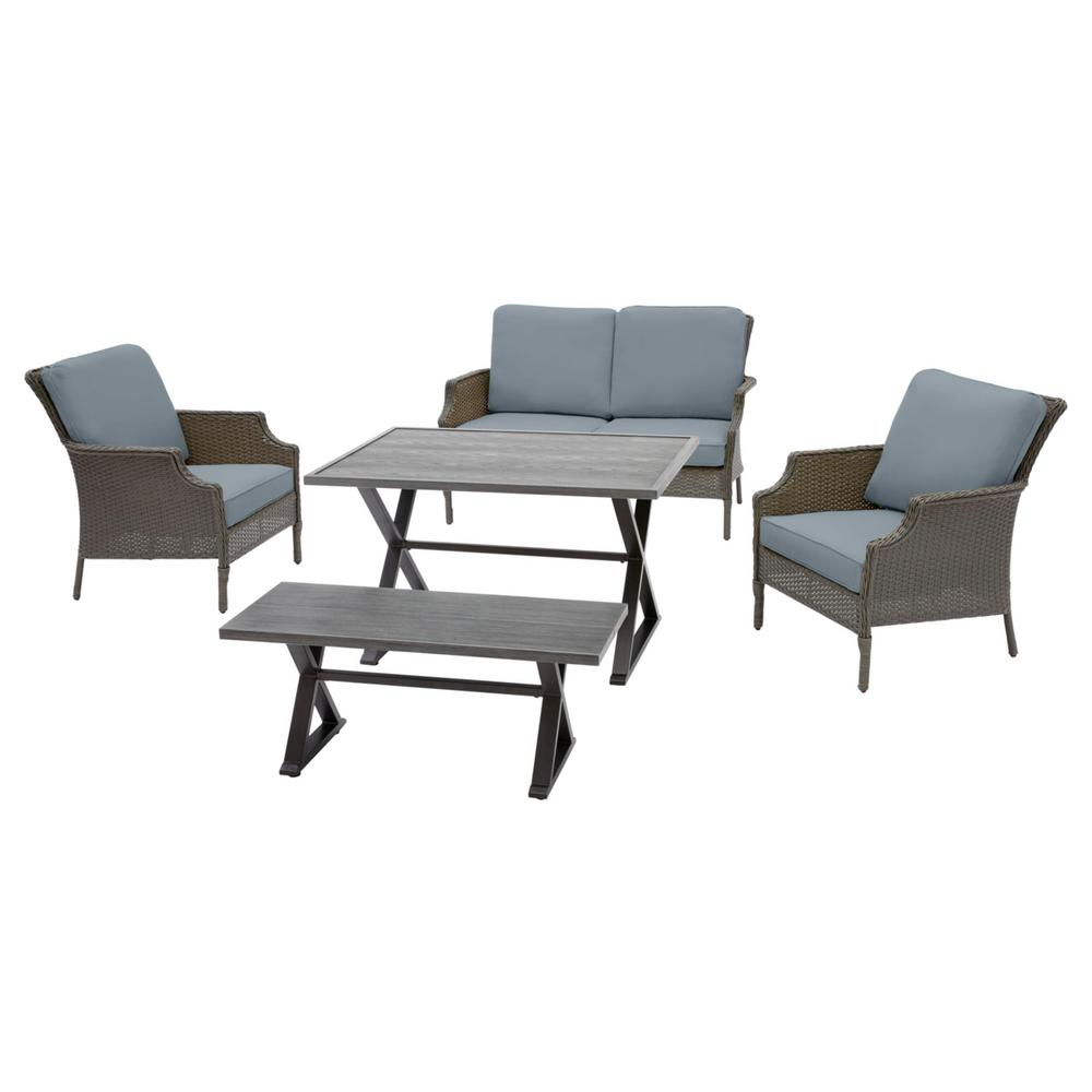 Hampton Bay Grayson 5-Piece Ash Gray Wicker Outdoor Patio Dining Set with Sunbrella Denim Blue Cushions was $899.0 now $719.2 (20.0% off)
