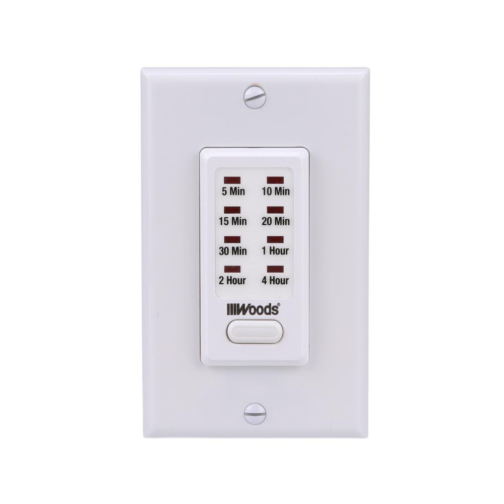 Woods 15-Amp 4-Hour In-Wall Countdown Digital Timer Switch, White ...