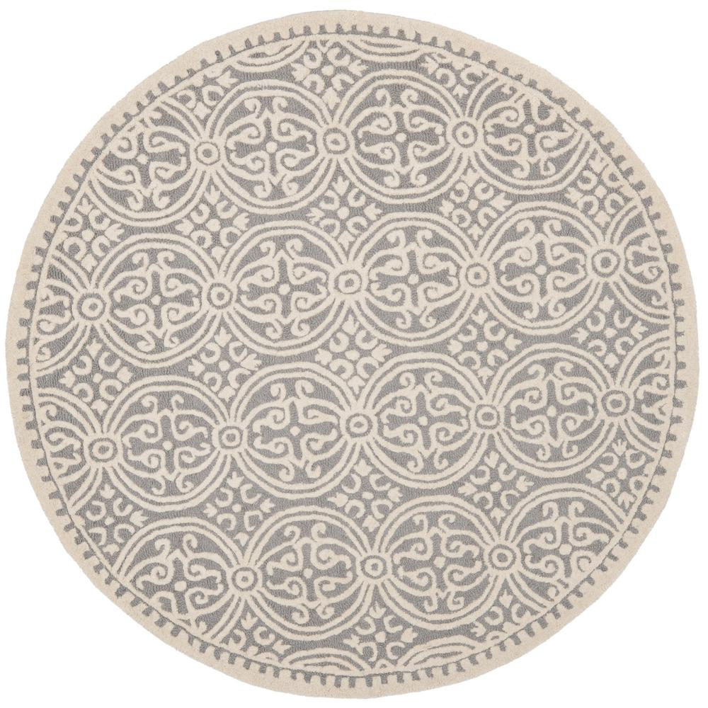 safavieh hudson shag ivory gray 9 ft x 9 ft round area rug sgh282a 9r the home depot. Black Bedroom Furniture Sets. Home Design Ideas
