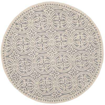 Cambridge Silver/Ivory 9 ft. x 9 ft. Round Area Rug