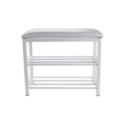 12.5 in. x 20 in. x 24 in. x 3-Tier Shoe Bench for 4-6 Pairs Shoe Organizer Storage Shelf with Cushion for Sitting White