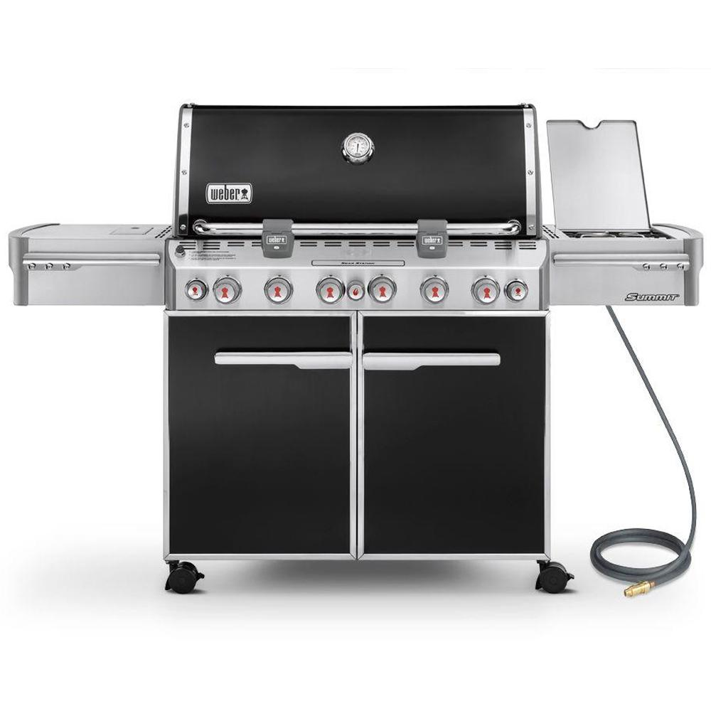 Weber Summit E-670 6-Burner Natural Gas Grill in Black with Built-In Thermometer and Rotisserie