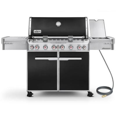 Summit E-670 6-Burner Natural Gas Grill in Black with Built-In Thermometer and Rotisserie