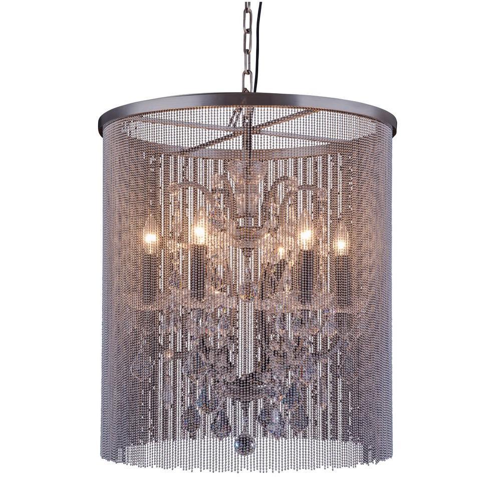 elegant lighting brooklyn 6 light mocha brown chandelier with clear