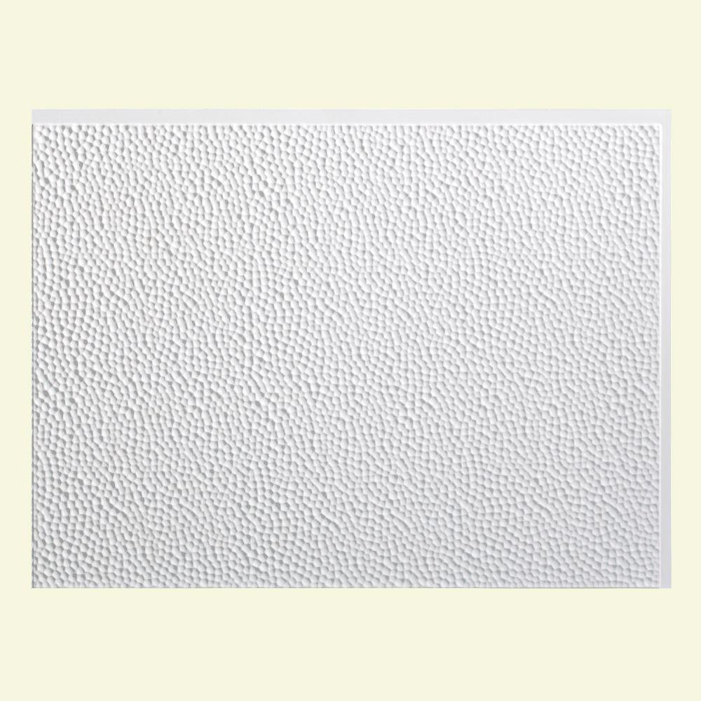 Hammered 18 in. x 24 in. Matte White Vinyl Decorative Wall
