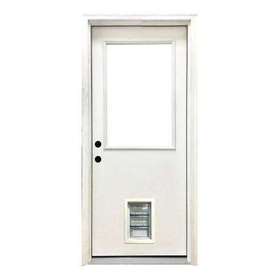36 in. x 80 in. Classic Clear Half Lite RHIS White Primed Fiberglass Prehung Front Door with Med Pet Door