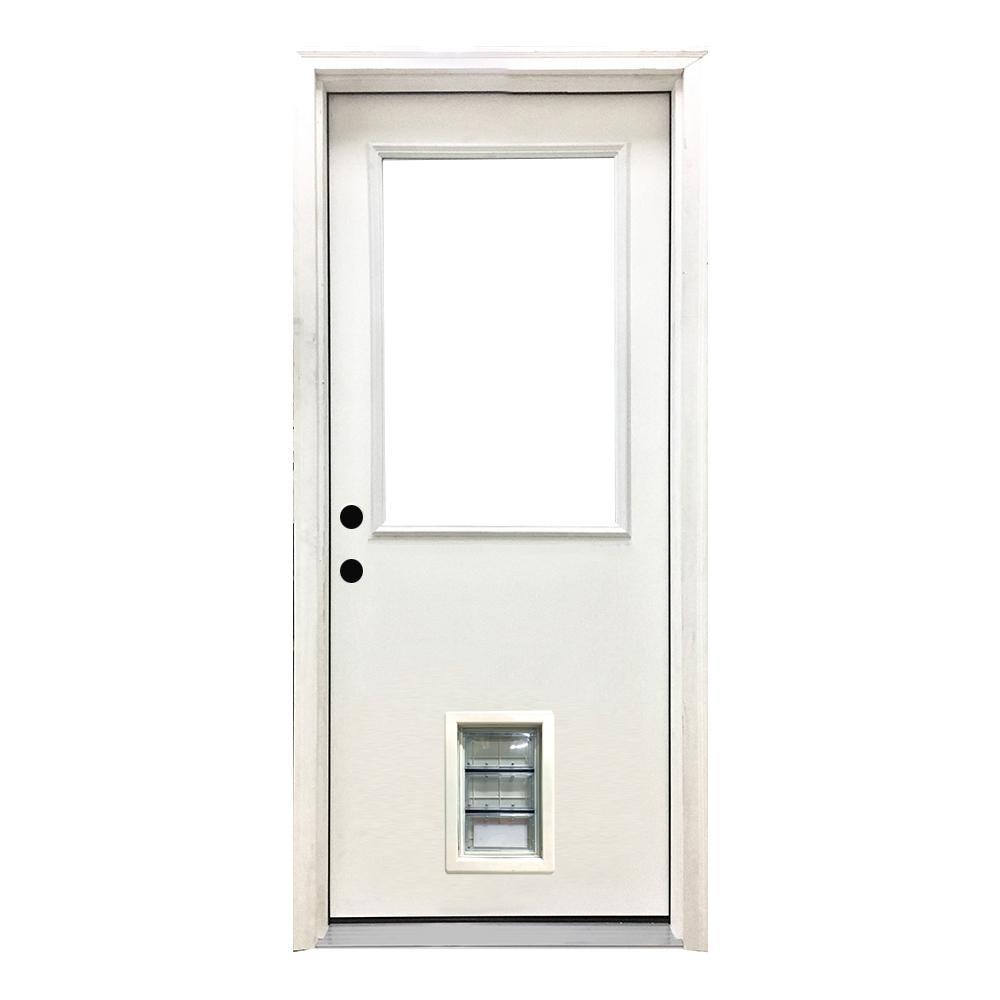 32 in. x 80 in. Classic Half Lite RHIS White Primed Textured Fiberglass Prehung Front Door with Med Pet Door