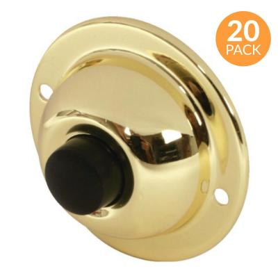 1-3/4 in. Round Unlighted Wired Doorbell Push Button, Brass with Black Button (20-Pack)